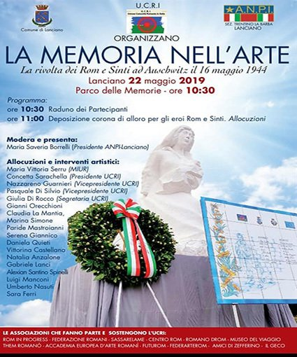 Il primo monumento in Italia dedicato al Samudaripen dei Rom e Sinti ospita le celebrazioni ufficiali  il 27 gennaio, il 16 maggio, il 2 Agosto, il 5 ottobre  alla presenza della comunità Rom e Sinta e delle autorità.